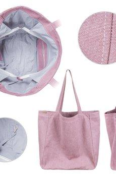 hairoo - Big Lazy bag różowa bardzo duża torba z grubej bawełny na zamek