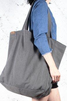 hairoo - Big Lazy bag grafitowa bardzo duża torba z grubej bawełny na zamek