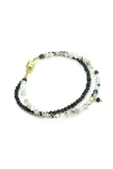 Brazi Druse Jewelry - Bransoletka Kamień księżycowy & Spinel złoto