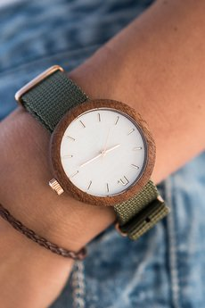 NeatBrand - Drewniany zegarek damski new hoop 38 n059