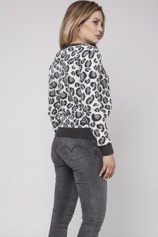 MKM swetry - Sweter w panterkę, SWE164 grafit/szary/ecru MKM
