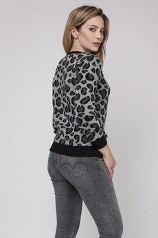 MKM swetry - Sweter w panterkę, SWE164 czarny/grafit/ecru MKM