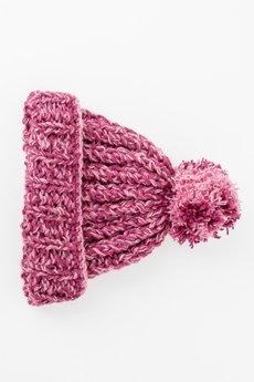 MIW Collection - Czapka różowa z pomponem