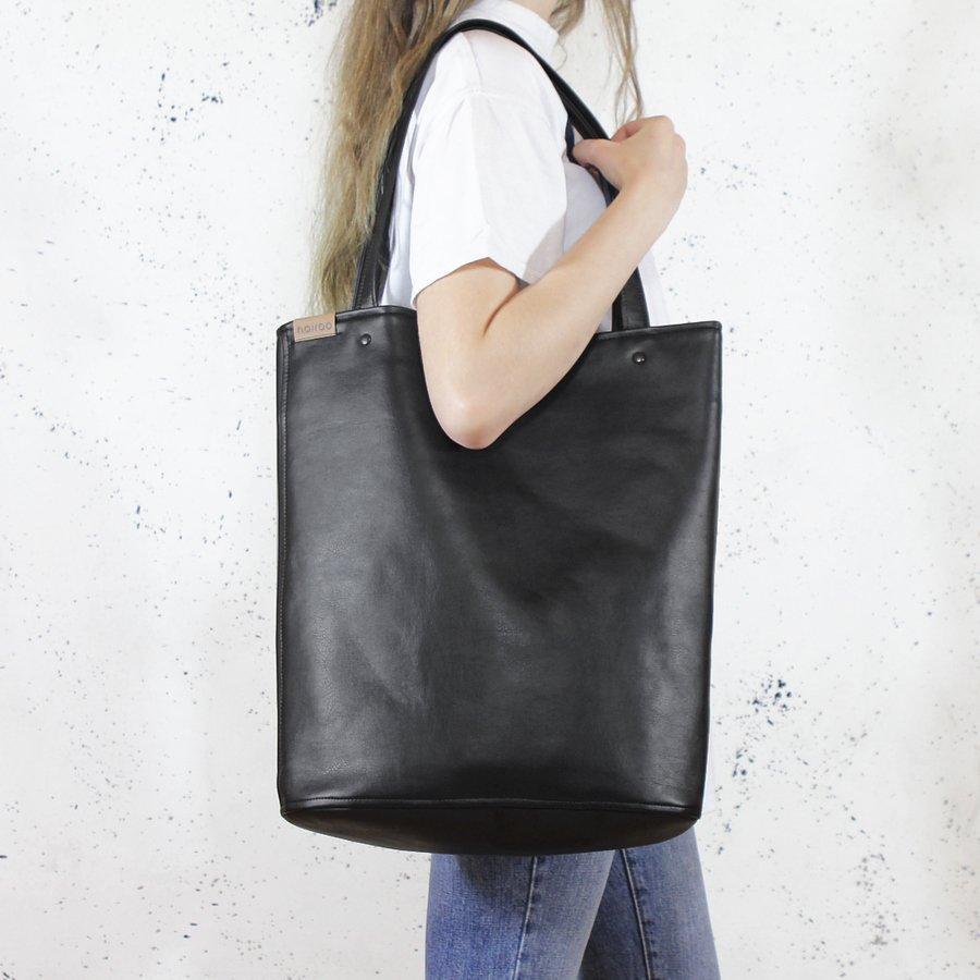 Shopper Bag Xl Czarna Klasyczna Torba Na Zamek Vegan