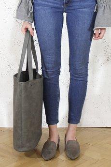 hairoo - Shopper bag XL szara torba na zamek Vegan