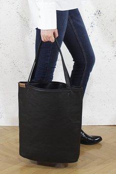 hairoo - Shopper bag XL czarna teksturowana torba na zamek