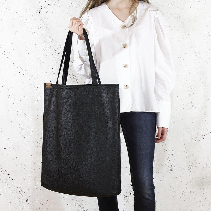 Mega Shopper Bag Czarna Teksturowana Torba Oversize Vegan
