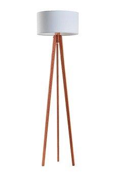 LYSNE - Lampa stojąca mahoń + abażur czarny MIAMI