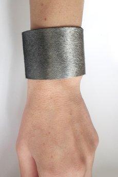 Mikashka - Bransoleta skórzana skóra stalowa