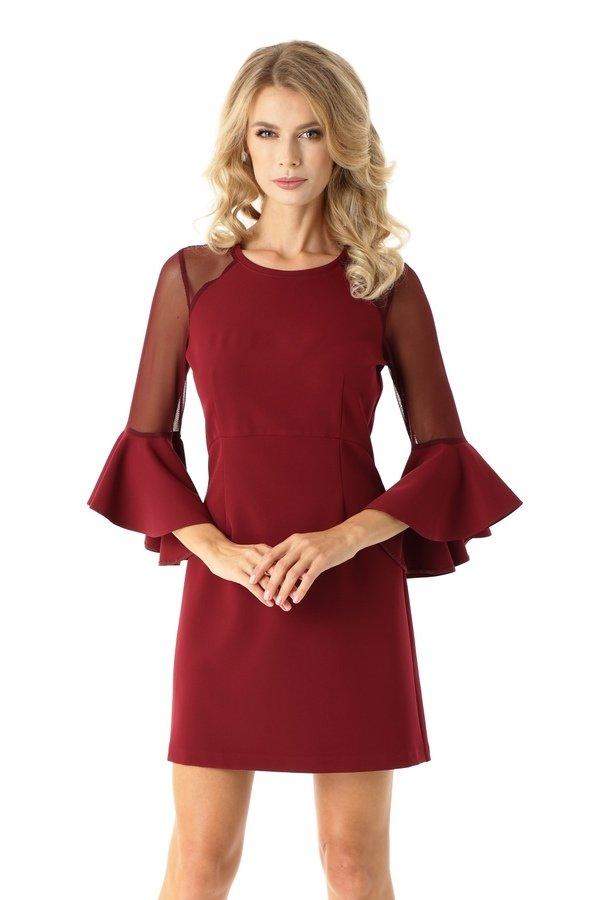 97b6ea8f17 Sukienka Szerokimi Rękawami I Tiulowymi Wstawkami Bordowa Ed021-5 - Bordowy
