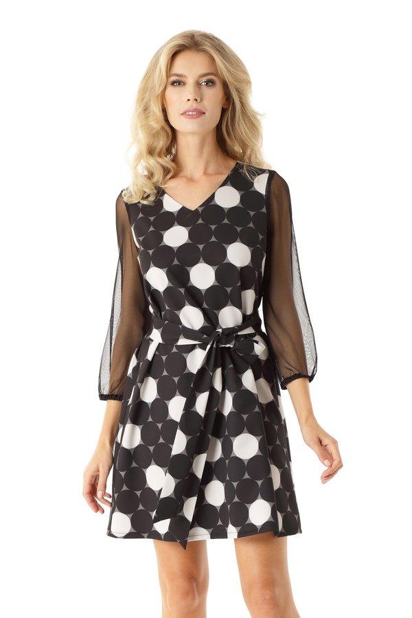 dd20c6a481 Sukienka Trapezowa Z Tiulowymi Rękawami Keira Koła Ed023-2 - Czarny ...