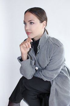 TRUE COLOR by ANN - Płaszcz wiosenny dłuższy DESIRE WOOL BLACK&WHITE