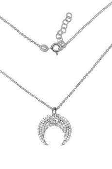 ATdiament - Srebrny naszyjnik księżyc z białymi cyrkoniami