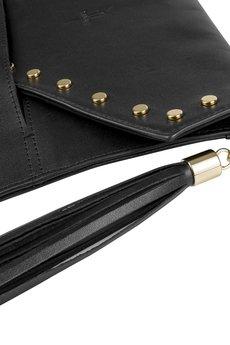 GAWOR - Klasyczna skórzana kopertówka czarna złote dodatki