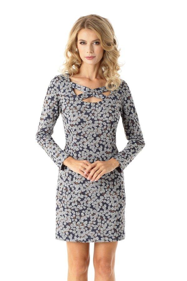 5a5ecfe394 Dopasowana Sukienka Z Paskami Emily Listki Ed024-2 - Granatowy ...