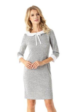Dopasowana sukienka z kołnierzykiem Flora szara ED025-1