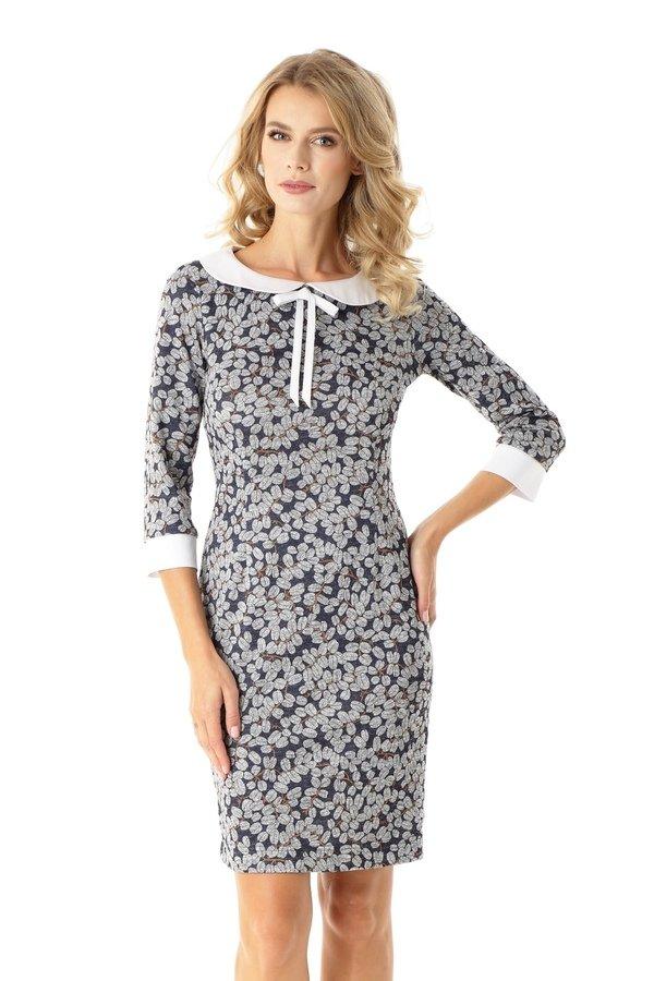 8d96dd1b9f Dopasowana Sukienka Z Kołnierzykiem Flora Listki Ed025-2 - Granatowy ...