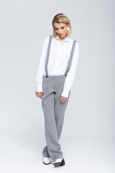 Zoee - Margot luksusowe wełniane spodnie na szelkach