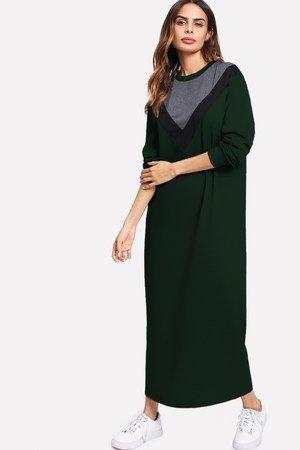 Zielona sukienka bluzowa maxi z wzorem V