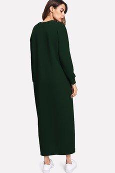Bien Fashion - Zielona sukienka bluzowa maxi z wzorem V