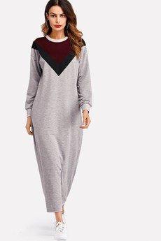 Bien Fashion - Szara sukienka bluzowa maxi z wzorem V