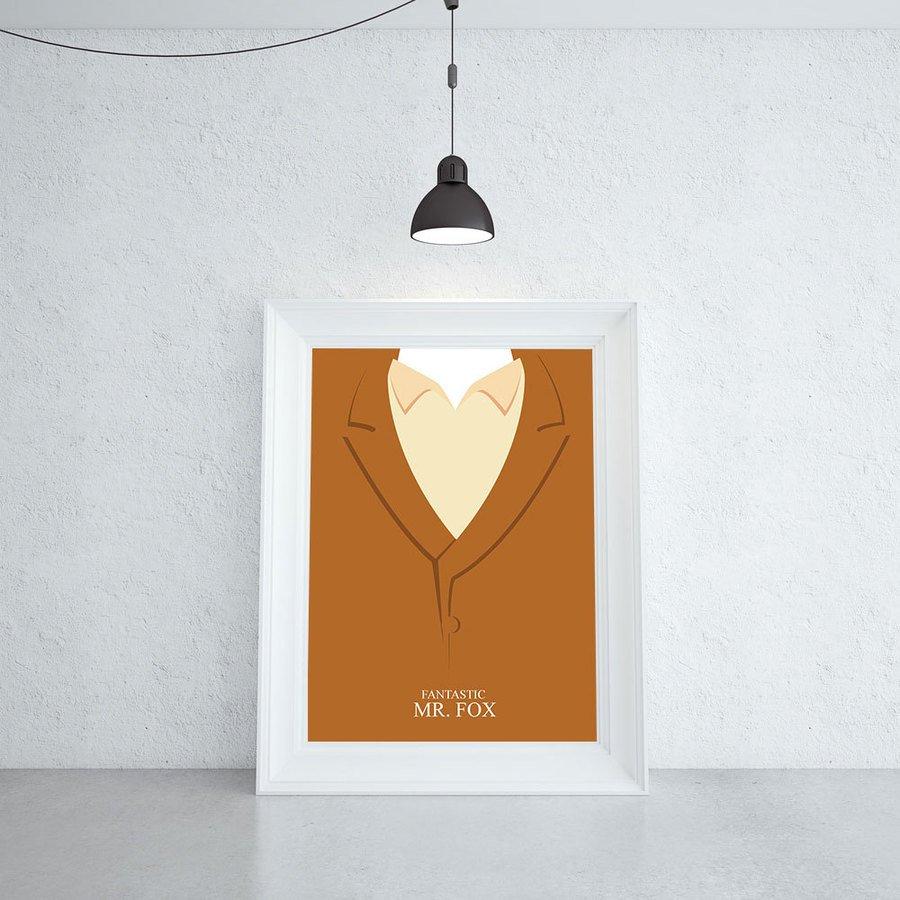 Fantastyczny Pan Lis Minimalistyczny Plakat Filmowy