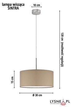 LYSNE - SINTRA lampa wisząca z beżowym abażurem fi - 30 cm