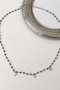 ATdiament - Srebrny pozłacany naszyjnik z czarnymi onyksami kołami
