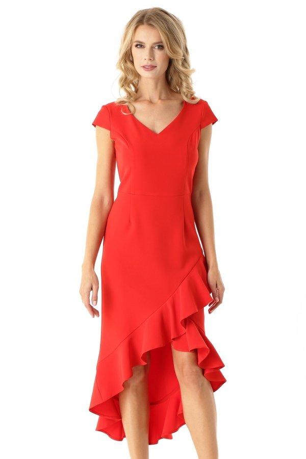 9626b1b159 Sukienka Z Dłuższym Tyłem Naomi Czerwona Ed026-1 - Czerwony