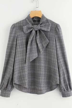 Bluzka damska w kratkę z krawatką