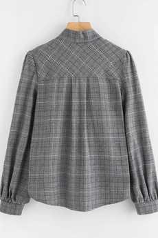 Bien Fashion - Bluzka damska w kratkę z krawatką