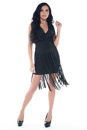 Sukienka czarna z frędzlami Charlotta