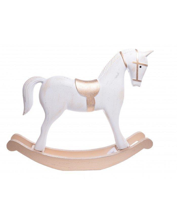 Koń Na Biegunach Duży Drewno Szary I Złoty Mia Home Passion