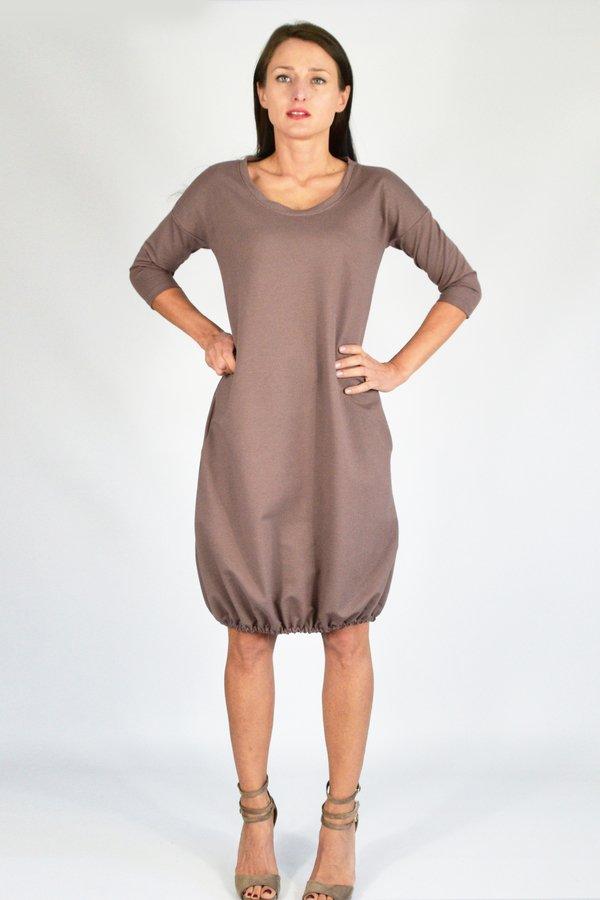 fcc04df01f Mila   S - 4xl   Sukienka Dresowa Bombka Cappuccino - Beżowy I Czarny