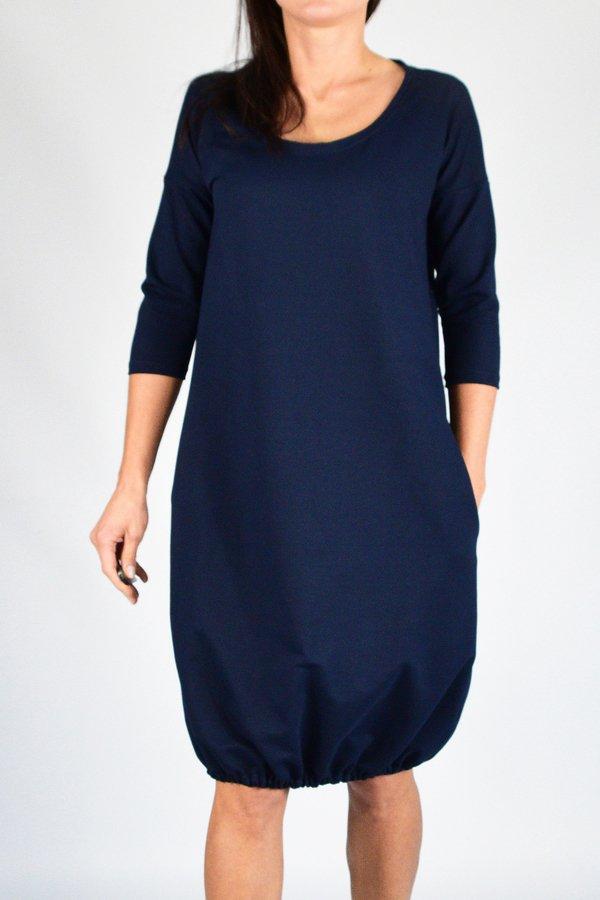 291eda054d Mila   S - 4xl   Sukienka Dresowa Bombka Granatowa - Beżowy