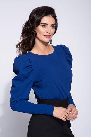 Niebieska bluzka damska z bufiastym rękawem