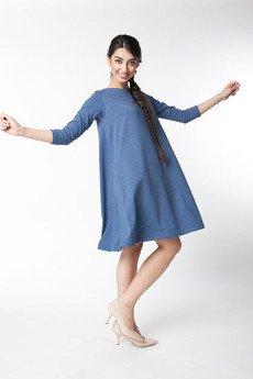 ekoszale - dzianinowa sukienka klosz, rozkloszowana damska
