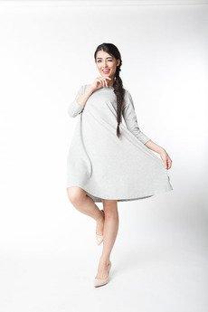 ekoszale - sukienka klosz, rękaw 3/4, sukienka midi szary melanż
