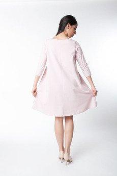 ekoszale - rozkloszowana sukienka, damska sukienka pudrowy róż, dresowa