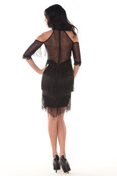 Kelly Couronne - Sukienka czarna z frędzlami Madaline