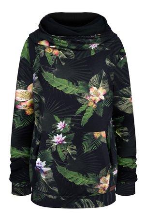 damska bluza z golfem, czarna bluza w kwiaty i liście z dużym kapturem