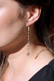 Brazi Druse Jewelry - Earrings Spinel Metalizowany z gwiazdkami złoto