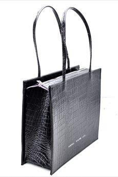 FABIOLA - Skórzana Shopper Adrianna czarny krokodyl połysk