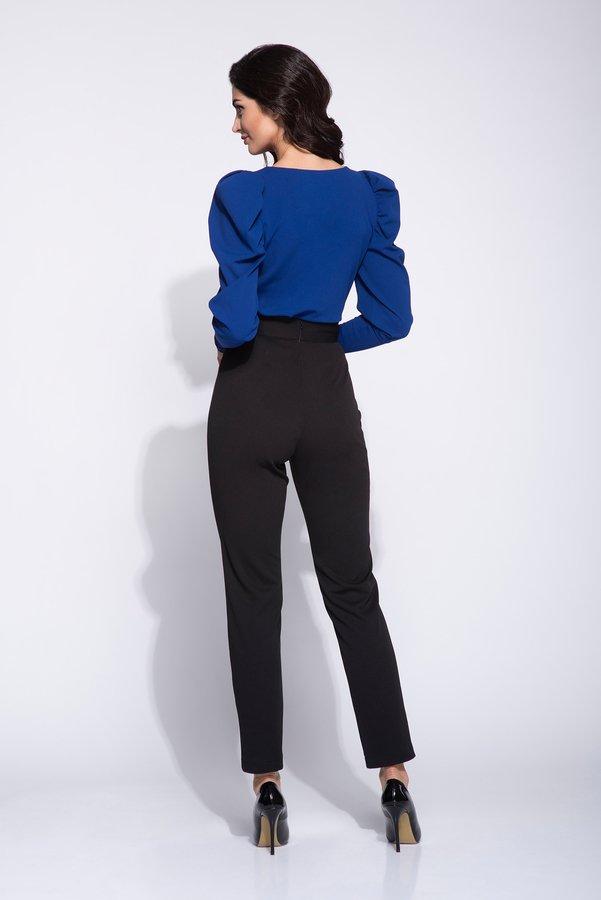 Eleganckie Czarne Spodnie Damskie Na Wysoki Stan Czarny