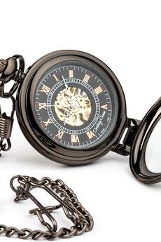 Drobiny Czasu - ELEGANCJA CZERNI I zegarek kieszonkowy, dewizka na łańcuszku