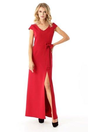 Długa prosta sukienka Hellen malina ED029-1