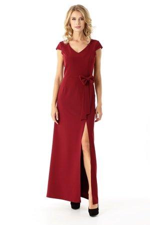 Długa prosta sukienka Hellen bordowy ED029-2