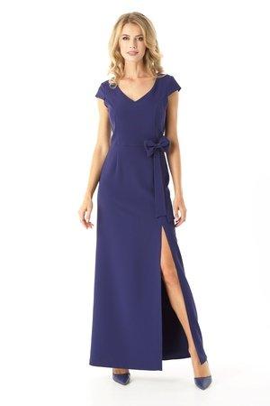 Długa prosta sukienka Hellen granatowy ED029-3