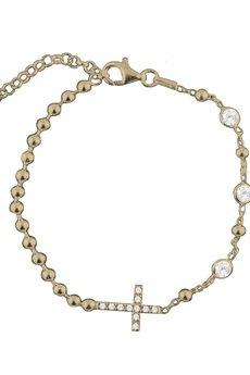 ATdiament - Srebrna pozłacana bransoletka z krzyżykiem i cyrkoniami