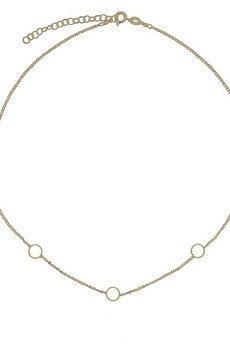ATdiament - Srebrny pozłacany naszyjnik z kółeczkami